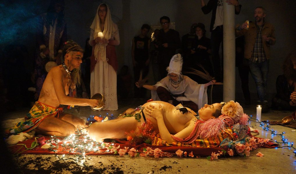 Go!PushPops  YONI PUJA: Incantation to the Cosmic Cervix, 2016, live ritual offering the 5 elements of Hindu Cosmology to the Yoni of the Goddess, Grace Exhibition Space, Bushwick, Brooklyn, NY, photo: Aria Eastwood