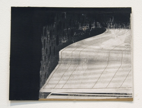 Elisa Lendvay Studio Selected Works on Paper acrylic, paycheck xeroxed, paper on cardboard