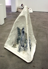Elisa Lendvay Studio Reiterations (memory) and Thought forms wood, plaster, charred wood, mirror frame, acrylic paint