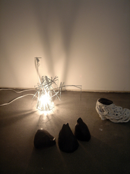 Elisa Lendvay Studio Fabled Agents 2006-7 light: Umbrella parts, wire, light     forms: plaster, mixed media, acrylic paint