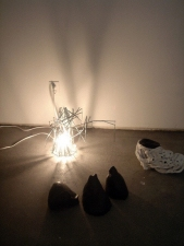Elisa Lendvay Studio Reiterations (memory) and Thought forms electric light and steel. hydrocal, acrylic paint