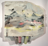 Elisa Lendvay Studio Reiterations (memory) and Thought forms oil paint on birch bark and wood