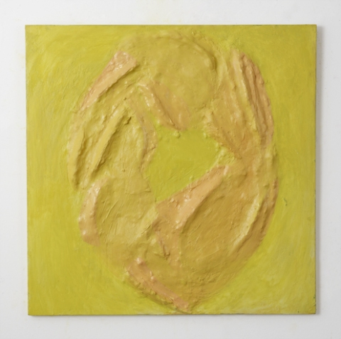 Elisa Soliven // Oil, plaster, and burlap on panel