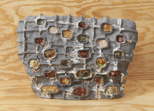 Elisa Soliven  Work Glazed ceramic and aluminum leaf