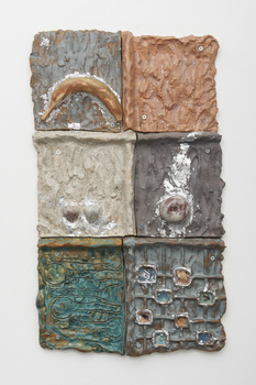 Elisa Soliven  Work Glazed ceramic, porcelain, and aluminum leaf