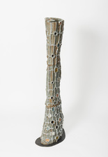 Elisa Soliven  Work Glazed ceramic, aluminum leaf, and steel