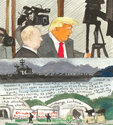 Elise Engler First Radio HeadlineS Heard of the Day Drawing Projectj 2017  watercolor, gouache, graphite on paper
