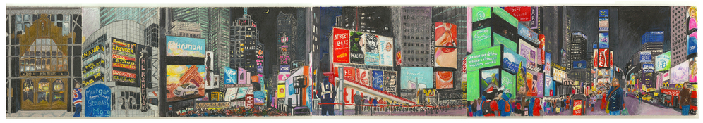 Elise Engler A Year on Broadway gouache, color pencil on paper