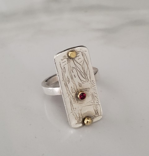 Elizabeth Woody Rings Fine Silver; Sterling Silver Band; 18K Gold; Ruby