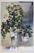 Elizabeth Riggle Geraniums Oil on Paper