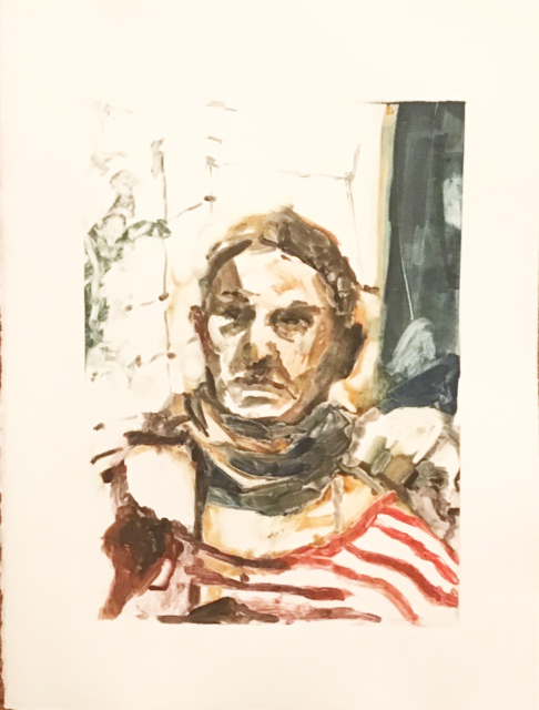 monoprints Woman in striped shirt