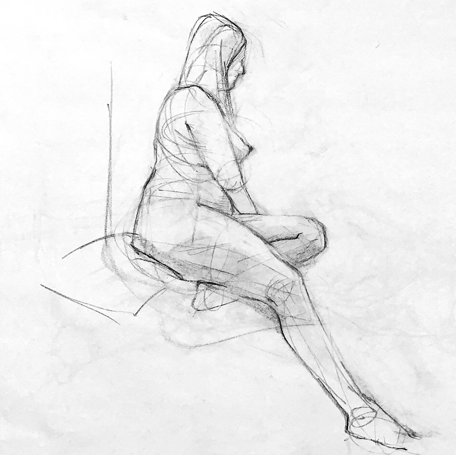 Observational Drawings Seated model, detail