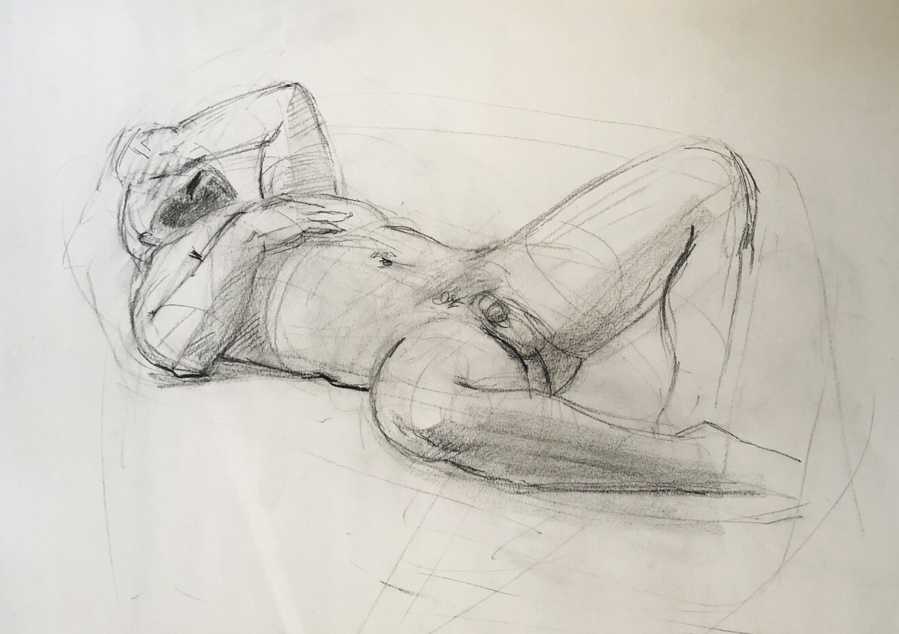 Observational Drawings Reclining Man - gesture