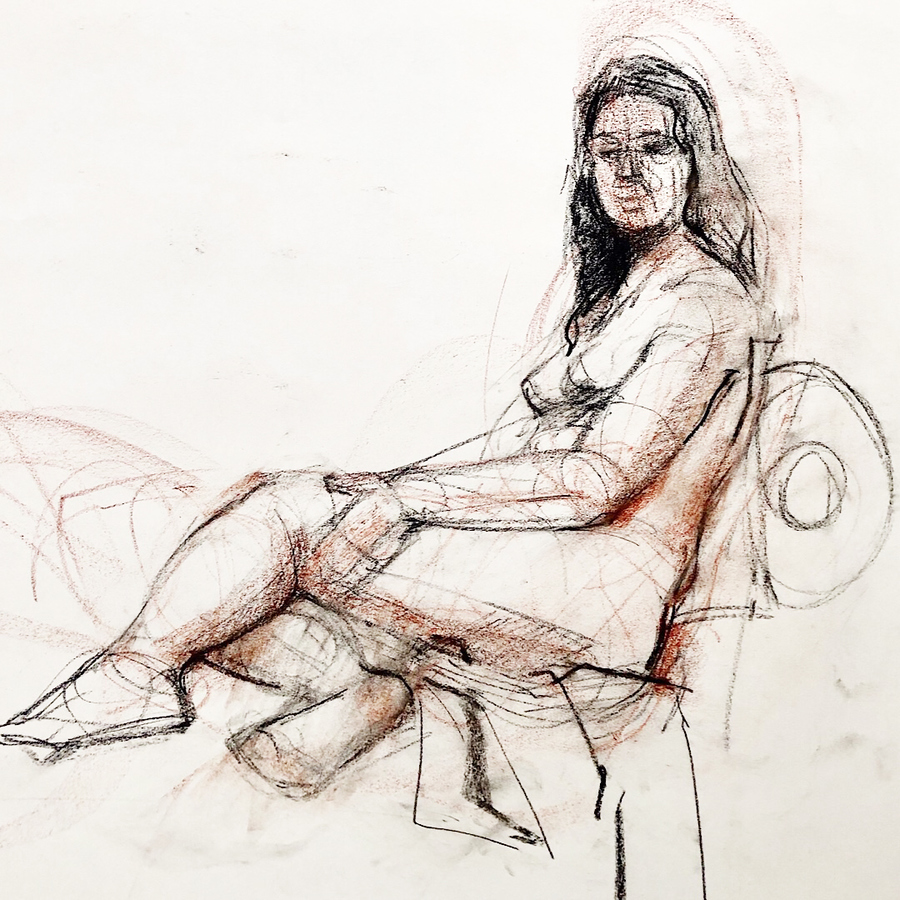 Observational Drawings figure in chair
