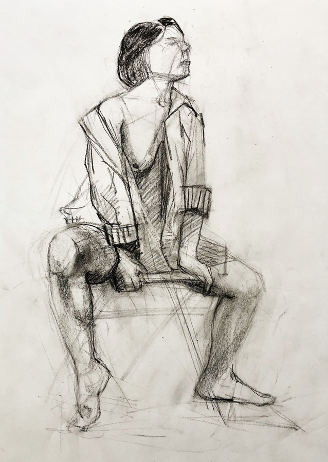Observational Drawings seated figure with robe