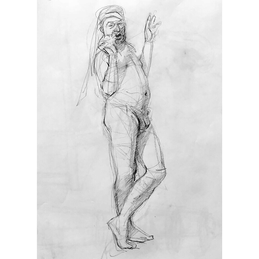 Observational Drawings standing male figure with head scarf