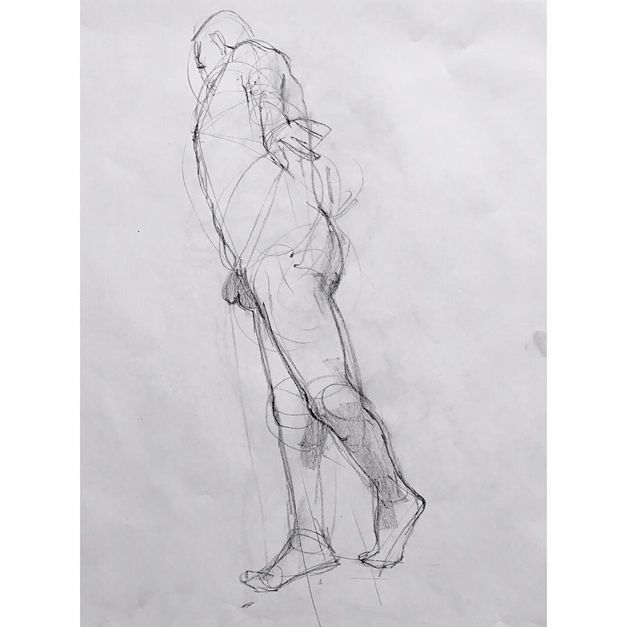 Observational Drawings tilted standing male figure