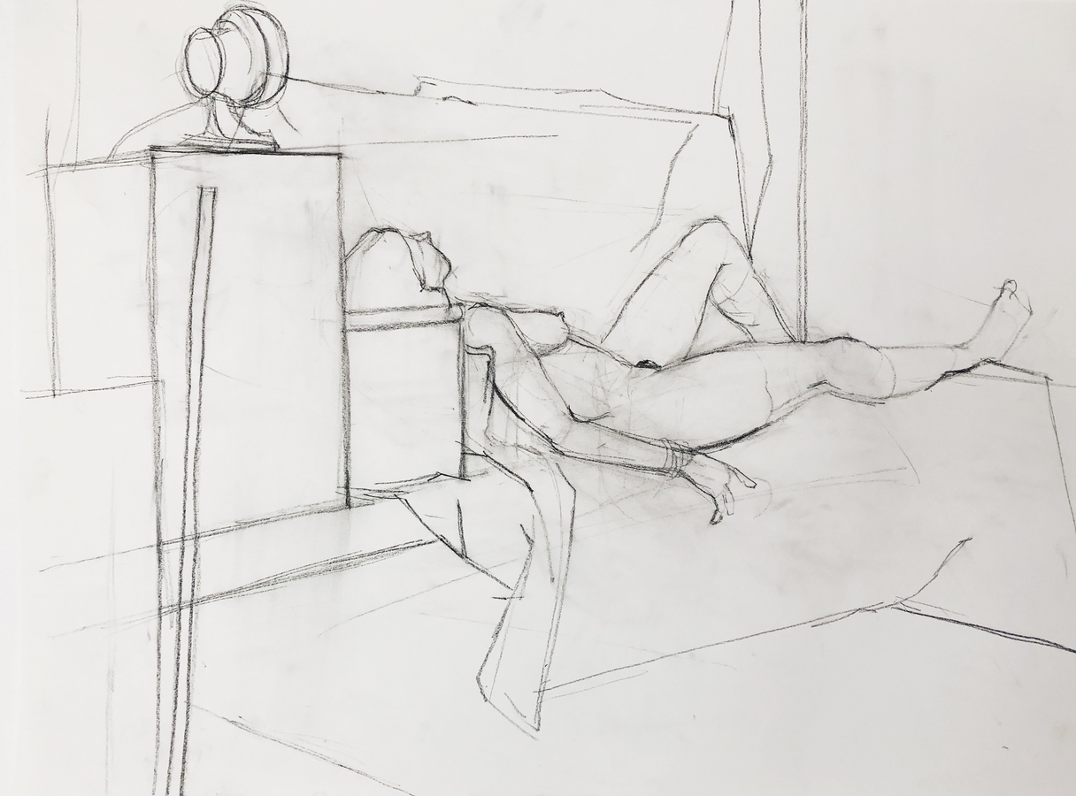 Observational Drawings reclining figure in environment