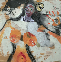 Elizabeth Criger PARABALANI Mixed media on rough, unfinished board