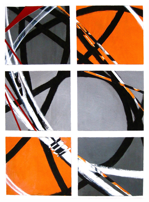 Grids Acrylic & Collage / 30 X 22