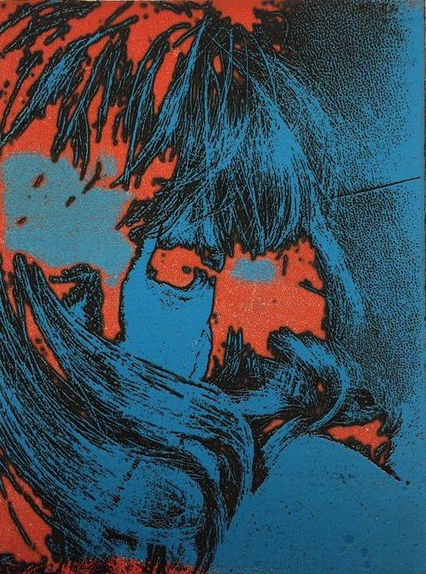 Selfie Series Viscosity Etching / 11 x 8
