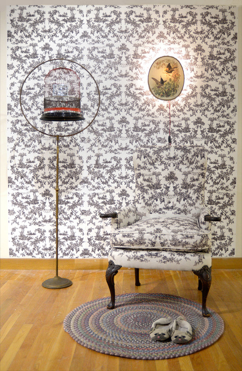 Elizabeth Duffy Maximum Security Wallpapers, Textiles and Installations  screen printed toile wallpaper and textile with images of RI ACI, bird cage, lamp with 19th century print of dueling birds and braided rug