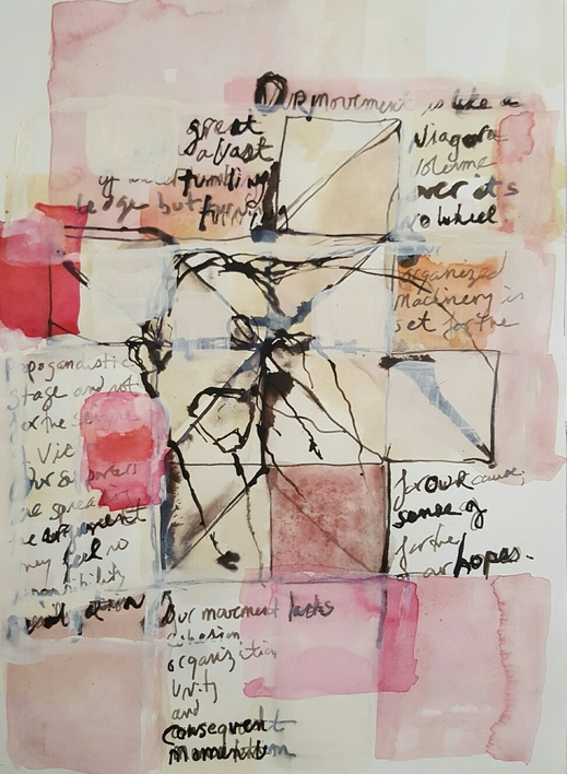 Elizabeth Terhune Speech Quilt Drawings bistre combination ink, watercolor, gouache, flashe