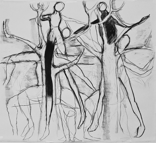 Elizabeth Terhune NeoDruidism -- large-scale charcoal drawings charcoal and graphite on watercolor paper
