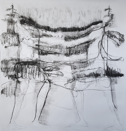 Elizabeth Terhune NeoDruidism -- large-scale charcoal drawings charcoal and graphite on paper