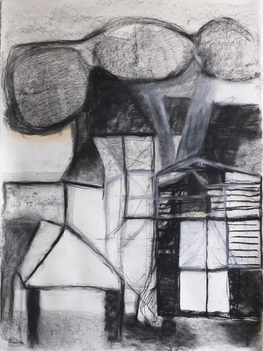 Elizabeth Terhune House and Tree drawings graphite, charcoal and conte on paper