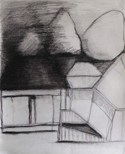 Elizabeth Terhune House and Tree drawings graphite, charcoal and pastel on paper