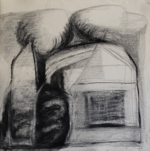 Elizabeth Terhune House and Tree drawings graphite and charcoal on paper