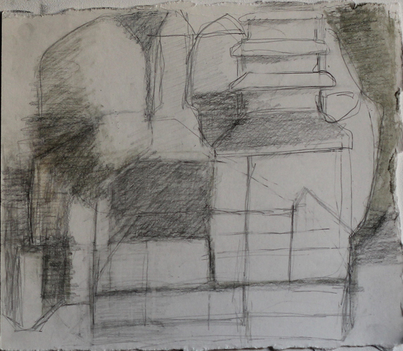 Elizabeth Terhune House and Tree drawings graphite and tinted charcoal on paper