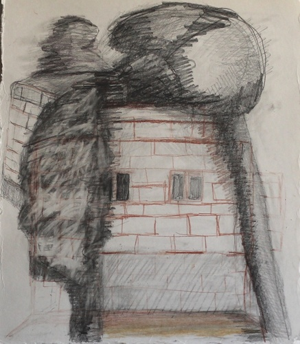Elizabeth Terhune House and Tree drawings graphite, charcoal, tinted charcoal and conte on paper