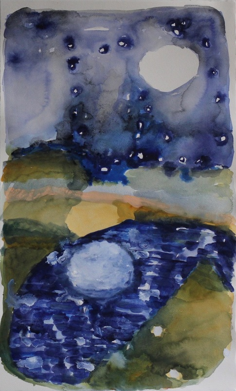 Elizabeth Terhune Alphabets, Constellations, the Moon, at the Ear of Being watercolor and gouache on paper
