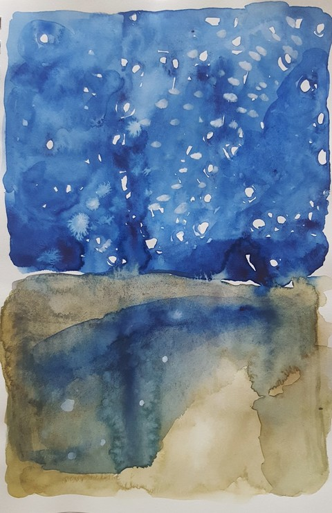 Elizabeth Terhune Alphabets, Constellations, the Moon, at the Ear of Being watercolor