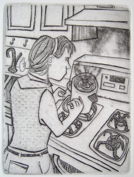 Ellen Coleman Izzo If I Die Tomorrow, Who Will Do the Dishes? Etching