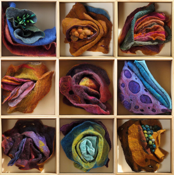 Textile Sculpture Seed Pod Squared