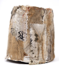 Ellen Solari FIBERS fabric collage vessel
