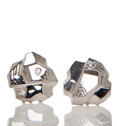 Elyse Garling Jewelry Earrings Sterling, Rhodium Plate, 3 High Quality Diamond Chips