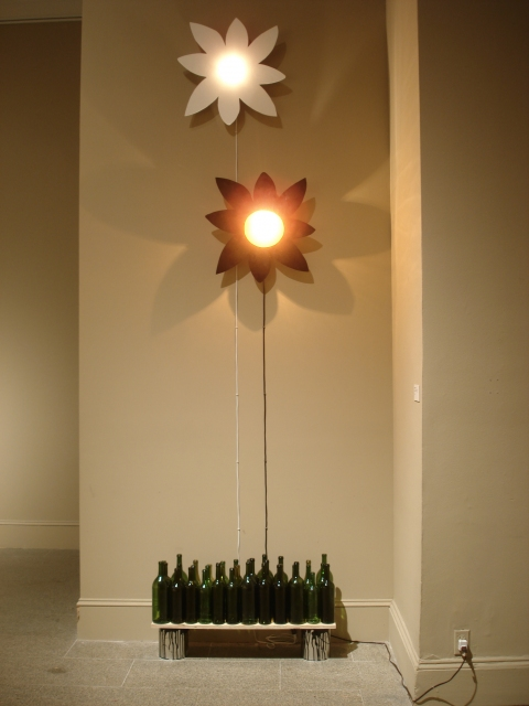 Emilie Lemakis Recent Work wood, enamel paint, light bulbs, wine bottles, paint cans