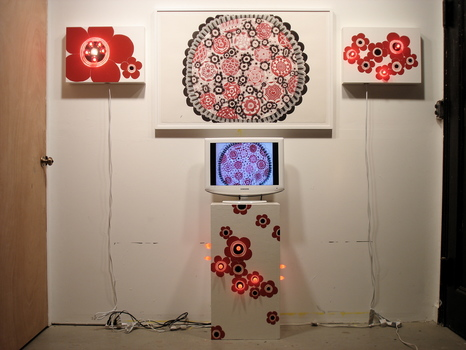 Emilie Lemakis Drawings Watercolor on paper, enamel paint on wood, with electrical lights, TV, and DVD video