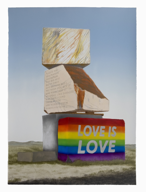 Emily Lombardo Queer Monuments Lithograph with paint