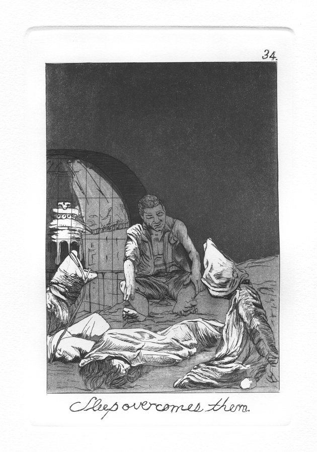 The Caprichos Plate 34:  Sleep overcomes them.