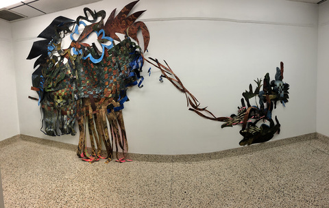 "Waves and Roots of Home, Sight Specific Installation at Freeport Recreation Center, 2020 Created from pieces of dismantled ""successful"" paintings, recycled ""failed"" paintings and trimmings of still existing paintings."