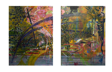 Erin Treacy Paintings Charcoal, Marker,  and Acrylic on Canvas