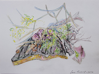 Erin Treacy Islands/Centerpieces Pencil, conte, and marker on paper
