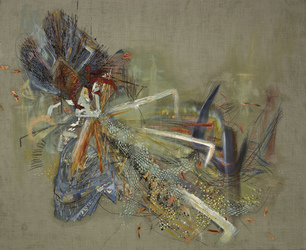 Erin Treacy Bring On the Color Pencil, Conte, Marker, Ink, Acrylic Paint, Oil Paint on Dyed Linen
