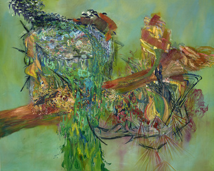 Erin Treacy Bring On the Color Oil Paint, Acrylic Paint, Pencil, Conte, Marker, and Ink on Linen