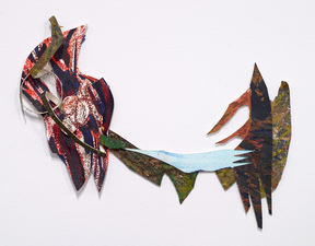"Erin Treacy Paper Assemblages Created from pieces of dismantled ""successful"" paintings, recycled ""failed"" paintings and trimmings of still existing paintings."